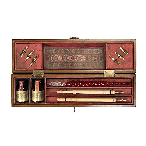 Windsor Prose - Writing Set - Features Wooden Box in French Finish and Solid Bronze Hardware - Authentic Models MG029