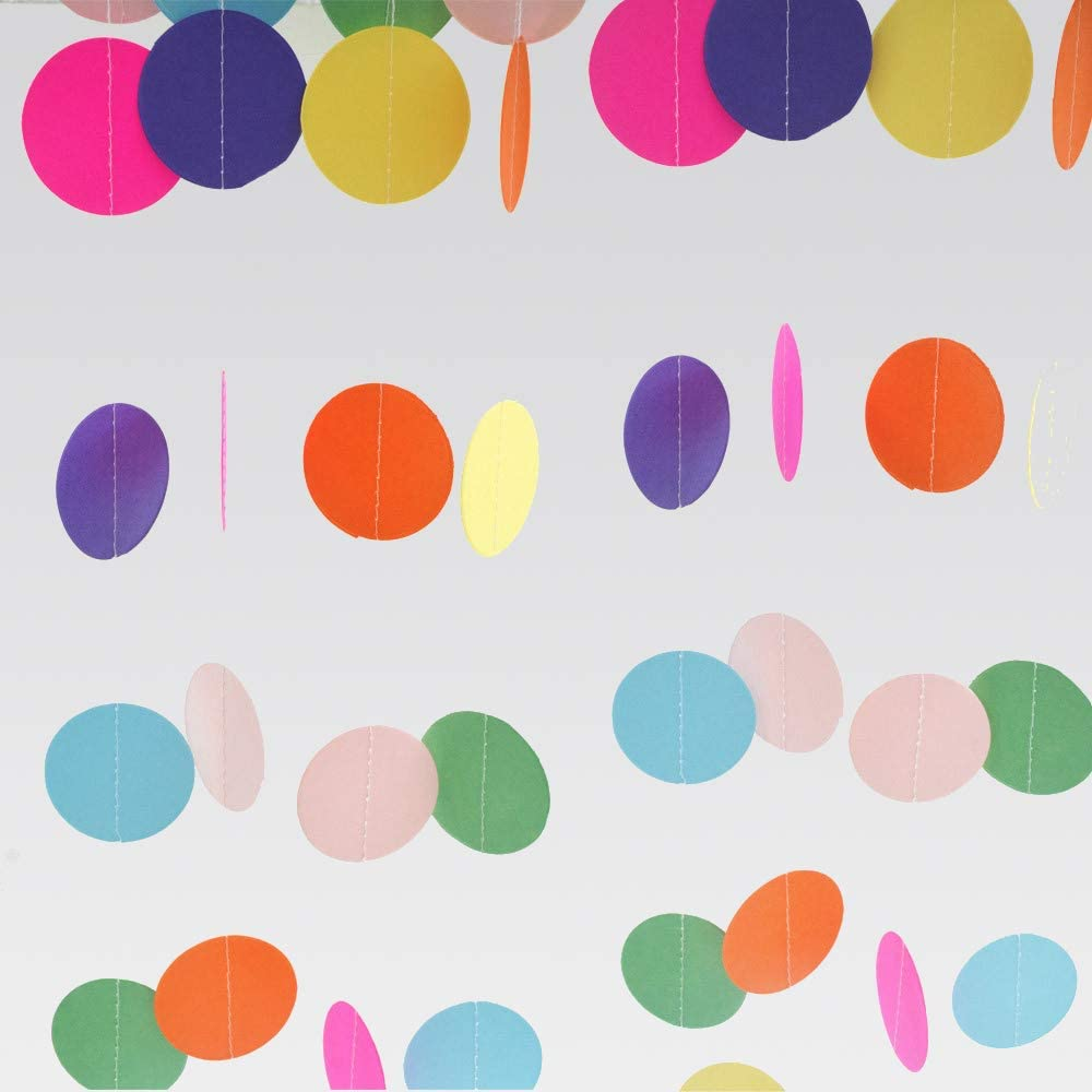 DEPONG Colorful Paper Garland, Circle Dots Hanging Decorations, Rainbow Sprinkle Decorations for Birthday Party, Wedding and Classroom Party - 4pcs