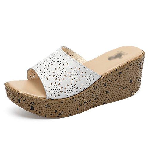 FEIFEI Zapatillas de mujer Material de alta calidad Summer Fashion Hollow Zapatillas de tacón alto 4 colores opcionales (Mesa impermeable: 3.5CM, con altura: 7CM) ( Color : Azul , Tamaño : EU36/UK3.5/ Blanco