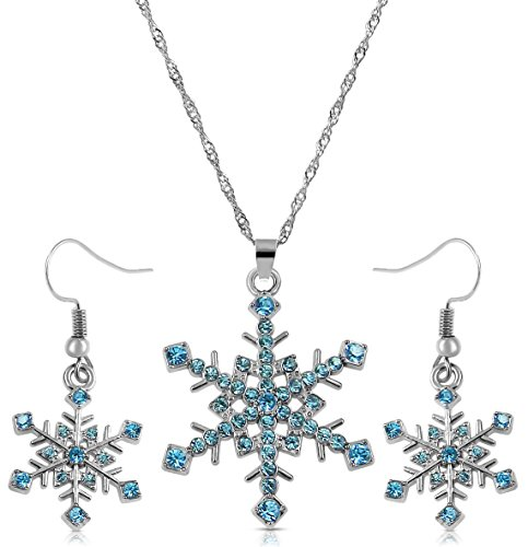 Silver Tone Aqua Ocean Blue Crystal Snowflake Necklace and Dangle Earrings Jewelry Set Winter Bridal (Winter Jewelry)