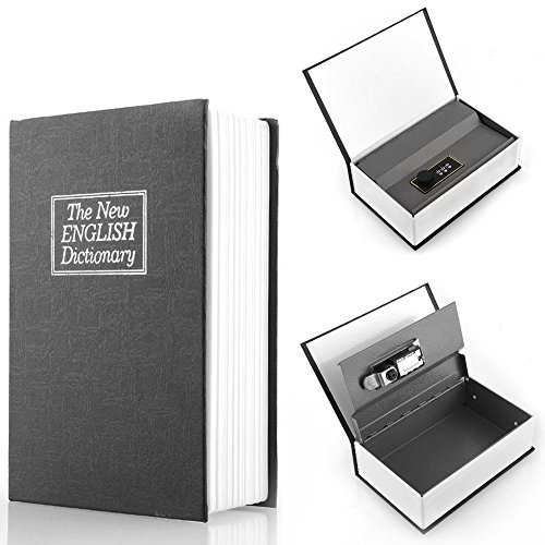 Deluxe Black Secret Dictionary Book Safe Money Hidden Box Security Lock Key Lock Strongbox