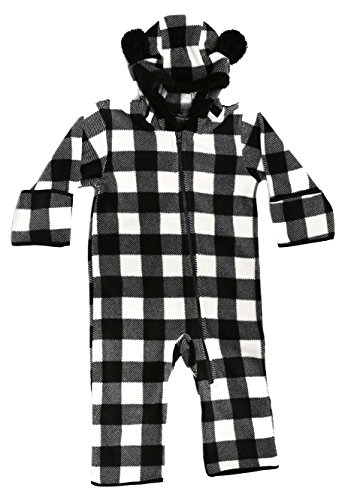 (At The Buzzer 87000-BLKWHT-12MO Baby Boys Fleece Pram Black/White)