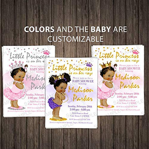 (Princess Baby Shower Invitation Little Princess Girl African Baby Shower Invitation Royal Baby Shower Invite Pink and Gold - 10 Cards as a Set)