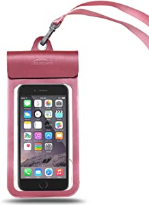 """Waterproof Phone Pouch, Universal Waterproof Case, IPX8 Underwater Dry Bag, with Lanyard Arm Band, for iPhone XR XS X 8 7 6S Plus Samsung Galaxy S7 S6 Note 7 5, HTC, LG Diagonal 6.5""""(Pink)"""