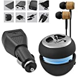 11 Piece Portable Speaker Accessory Kit: Includes Portable Wireless Apple Shaped Speaker, Wood in Ear Earphones, Aux Cable, Wall Charger, Car Charger, Headphone Cord Splitter, Airplane Adapter, USB Cable, Carrying Pouch, Dust Cover, Cleaning Cloth