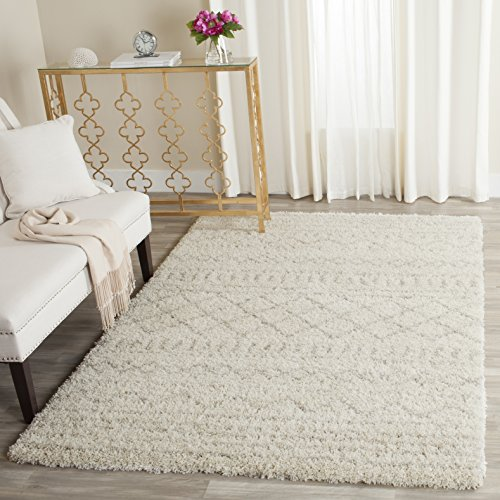 Safavieh Arizona Shag Collection ASG741A Southwestern Ivory and Beige Area Rug (5'1