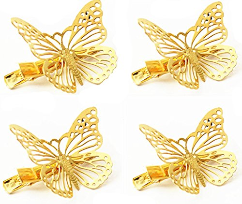 QTMY Pack of 4 Golden Hollow Metal Butterfly Hair Clip Hair Accessories (Apparel Wholesale Motorcycle)