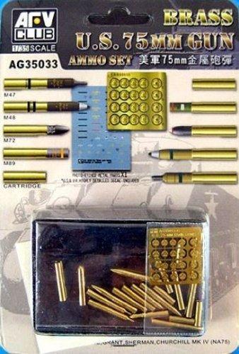 (AFV Club 1:35 US 75mm Brass Gun Ammo Set #AG35033*)