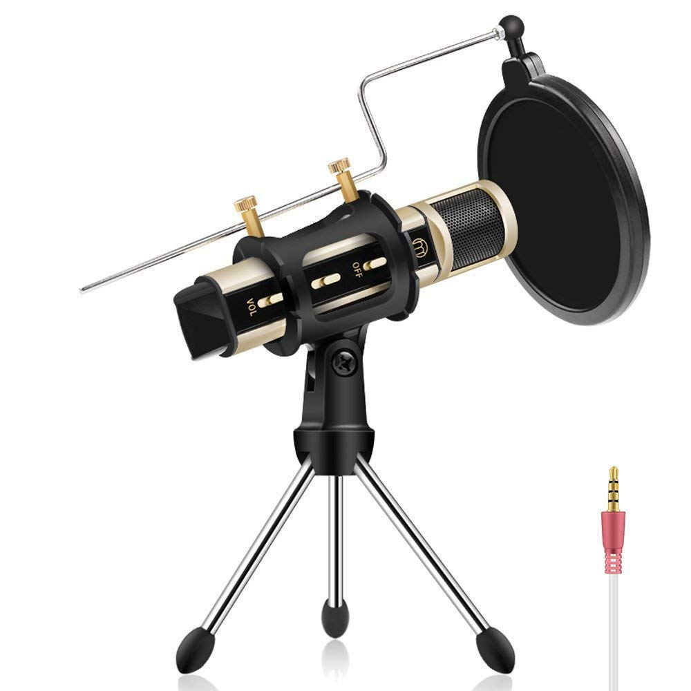 ZealSound Mini Condenser Microphone with Stand for iPhone Karaoke Mobile Phone Karaoke Machine for Singing App Smule Yokee StarMaker Noise Reduction Echo Recording Microphone k08-2s (Gold)