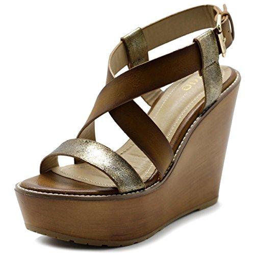 Camel Sandal Ollio Burnish Strap Womens Wedge Vintage Shoe Cross CwPBw8q1