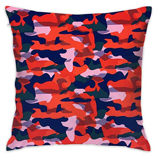 - Reteone Colorful Camo Camouflage Art Pillowcase Covers - Zippered Pillow Case Cover, Pillow Protector, Best Throw Pillow Cover - Standard Size 18x18 Inch, Double-Sided Print Pillowcases