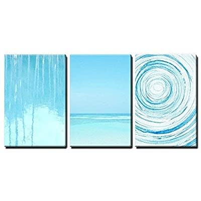 3 Panel Light Blue Trees Relection in Water and Seascape and Abstract Circles x 3 Panels, Professional Creation, Incredible Artisanship