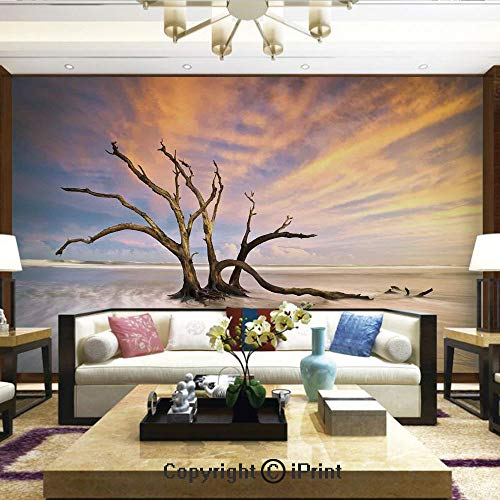 Lionpapa_mural Removable Wall Mural Ideal to Decorate Bedroom,or Office,Seascape Theme Dead Tree Driftwood in The Ocean at Sunset Landscape,Home Decor - 100x144 inches -