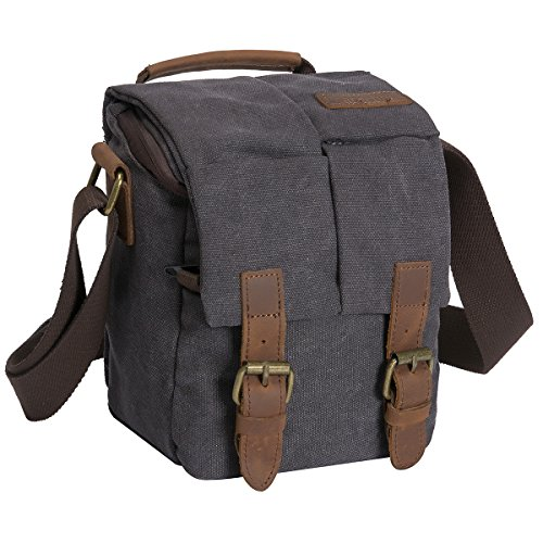 Waterproof Canvas Leather Trim DSLR SLR Shockproof Camera Shoulder Messenger Bag­ (Dark Grey)