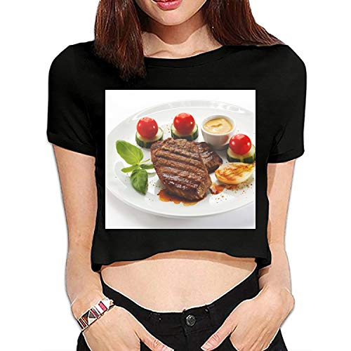 - Women's Chop Mustard Tomatoes Cucumbers Leaves Plate Tee Shirt Short Sleeve Blouse Top