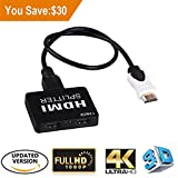 LinkS 1x2 2 Ports HDMI Powered Splitter for Full HD 1080P & 3D Support (One Input To Two Outputs) with High Speed HDMI Cable