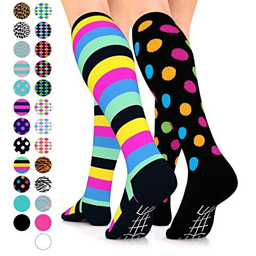 Go2Socks GO2 Compression Socks for Women Men Nurses Runners 15-20 mmHg (Medium) - Medical Stocking Maternity Travel - Best Performance Recovery Circulation Stamina (2BlkMultiSripe&BlkMultiPolkaDotLF)