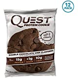 Quest Nutrition Protein Cookie, Double Chocolate Chip, 15g Protein, 5g Net Carbs, 240 Cals, 2.08oz Cookie, 12 Count, High Protein, Low Carb, Gluten Free, Soy Free