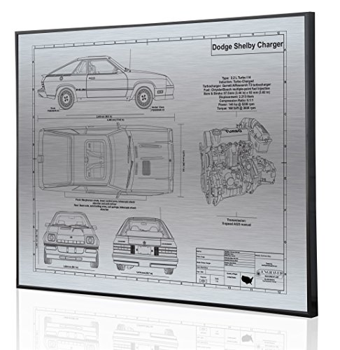 Dodge Shelby Charger Blueprint Artwork-Laser Marked & Personalized-The Perfect Dodge Gifts