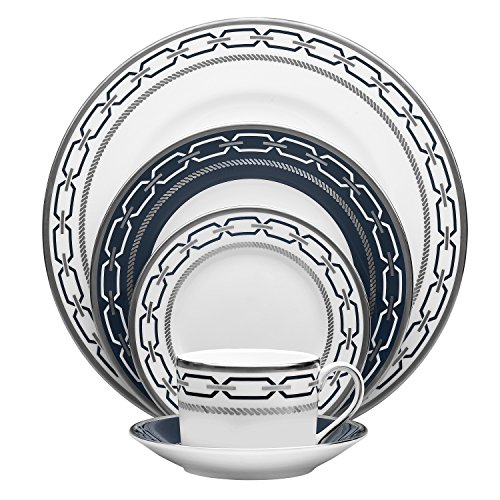 Wedgwood with Love Nouveau Indigo Rim 5-Piece Place Setting, White 5 Piece Place Setting Rim
