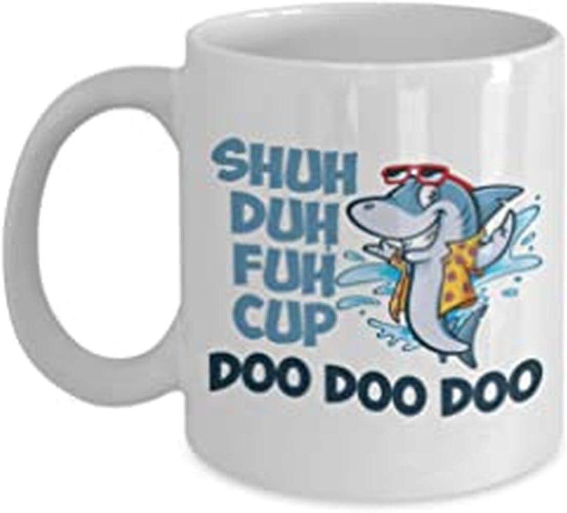 Shuh Duh Fuh Cup, Shark Mug, Doo Doo Doo Mug, Funny Coffee Mug, Baby Shark, Mommy Shark, Shuh Duh Fuh Cup Mug, Funny Shark Shuh Duh Fuh Cup Doo Doo Doo Novelty Mommy Coffee Mug 15oz