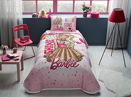 (Cartoon Character's Bedding Coverlet Set Single/Twin Size Kids Bedspread/Coverlet for Summer (Barbie Shine) )