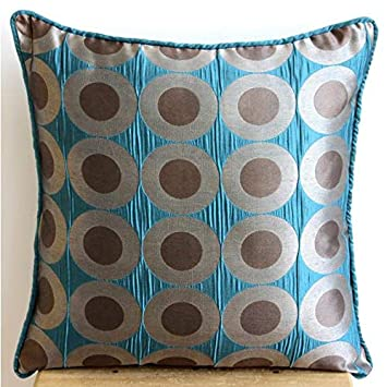 The HomeCentric Handmade Teal Blue Throw Pillows Cover, Polka Dots Pillows Cover, 16 x16 Throw Pillow Covers, Square Silk Pillow Covers, Polka Dot Modern Pillows Cover – Teal Polka Dots