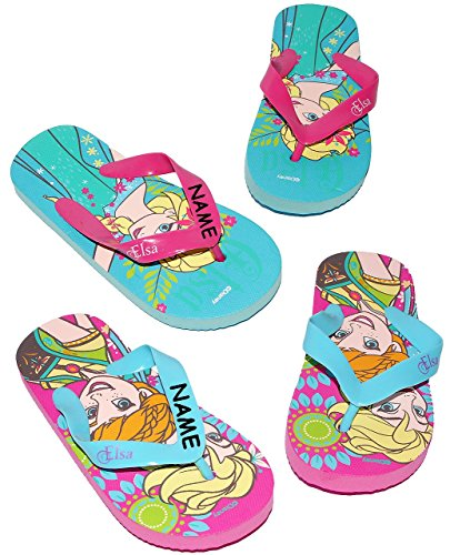 """Zehentrenner Sandalen - Gr. 29 / 30 - """" Disney FROZEN - die Eiskönigin """"- incl. Name - rutschfeste Schuhe Schuh / Badeschuhe mit Profilsohle - für Kinder - Mädchen / Hausschuhe Gartenschuhe - Wassersc"""
