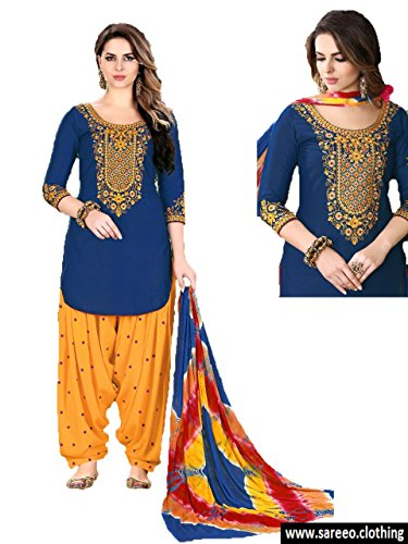 PAKINDI FASHION Patiala Salwar Embroidered Cotton Salwar Kameez Suit India/Pakistani Dress for Women (Blue Cotton Salwar Kameez)