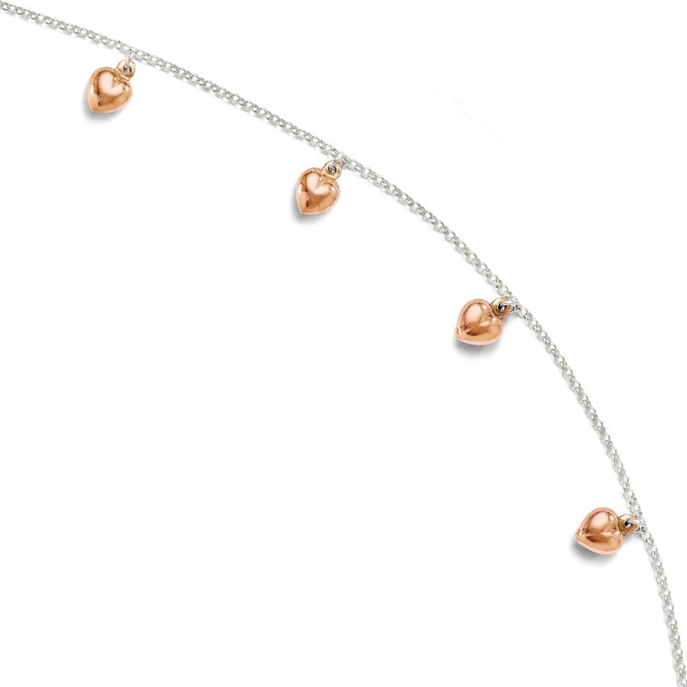 Perfect Jewelry Gift Leslies Sterling Silver Rose-tone 18k Flash Plated Anklet Adj. 9-10