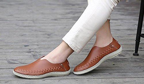 Mens Chaussures En Cuir Véritable Mocassins Été Plage Glisser Sur Les Chaussures De Marche Par Jiye Marron