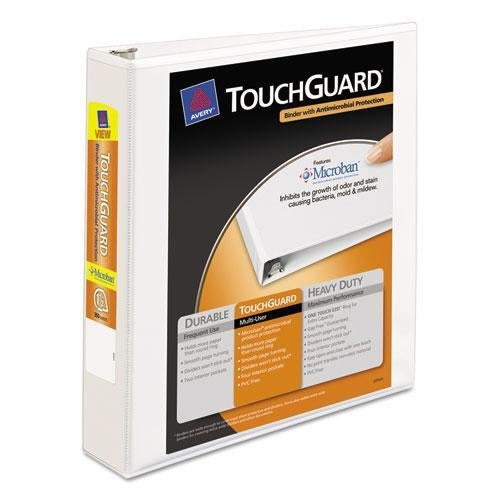 AVERY 17142 Touchguard Antimicrobial View Binder with Slant Rings, 1-1/2