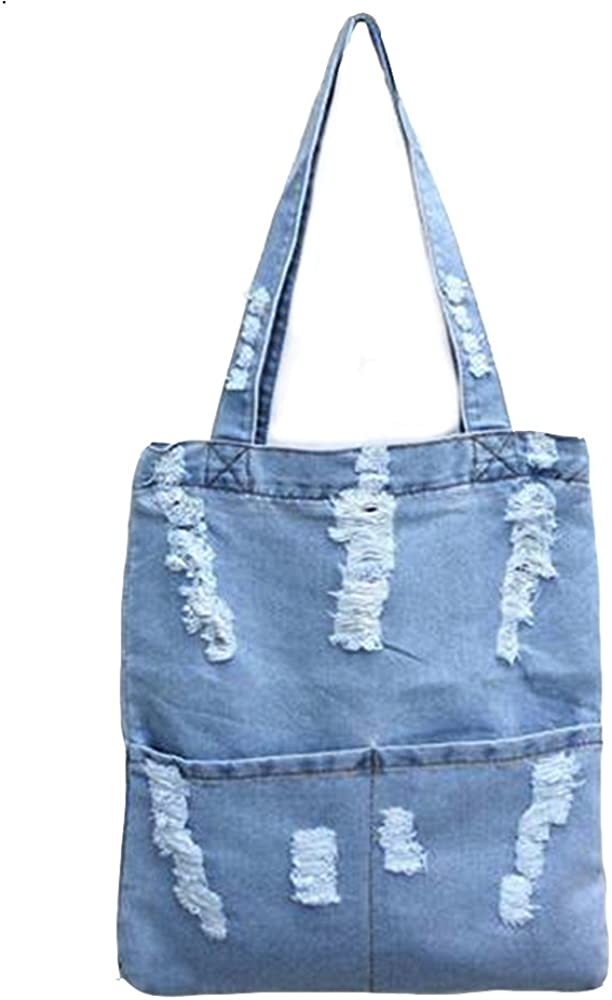 Dark Denim Tote Bag Lightweight Shopper Shoulder Bag Beach Holiday Festival