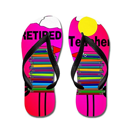 CafePress Retired Teacher - Flip Flops, Funny Thong Sandals, Beach Sandals Black