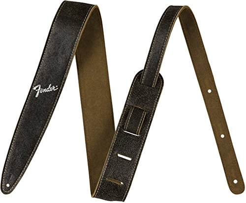 Fender 2 in. Distressed Leather Straps Black 2 in.