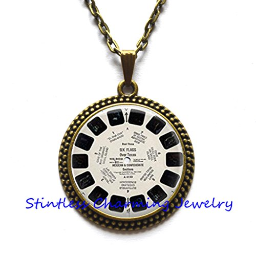 (ViewMaster Lens Pendant/Necklace Jewelry, Fine Art Necklace Jewelry, View Master Photo Jewelry Glass Pendant Gift, View Master, ViewMaster)