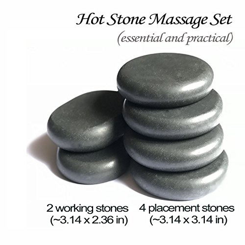 Hot Stones - 6 Large Essential Massage Stones Set for professional or home spa, relaxing, pain relief, healing, by Redsong