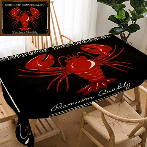 Skocici Unique Custom Design Cotton and Linen Blend Tablecloth Lobster House Fresh Seafood Invitation Poster Hand Drawn IllustrationTablecovers for Rectangle Tables, 78