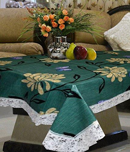 Kuber Industries Green Flower Waterproof Center Table Cover