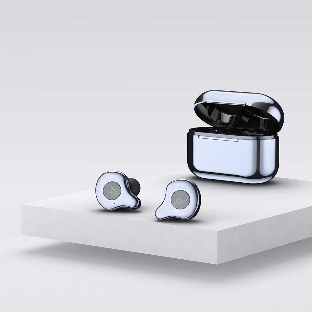 RONSHIN Wireless Bluetooth in-Ear Headphones Auto-Pairing Waterproof Headset with 750mAh Charging Bin Cyan-Blue + Cyan-Blue by RONSHIN