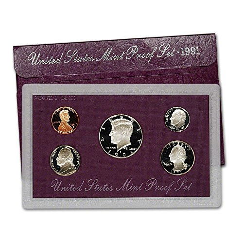 1991 Us Mint Proof (1991 S US Mint 5-Piece Proof Set Orig Box/COA DCAM)