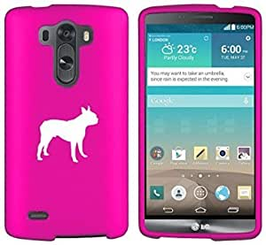 LG G4 Snap On 2 Piece Rubber Hard Case Cover Boston Terrier (Hot Pink)