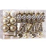 Sea Team 77-Pack Assorted Shatterproof Christmas Balls Christmas Ornaments Set Decorative Baubles Pendants with Reusable Hand-held Gift Package for Xmas Tree (Gold)