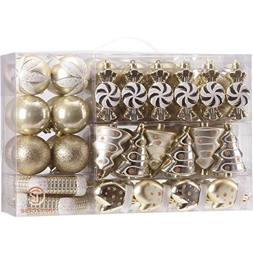 Sea Team 77Pack Assorted Shatterproof Christmas Balls Christmas Ornaments Set Decorative Baubles Pendants with Reusable Handheld Gift Package for Xmas Tree Gold