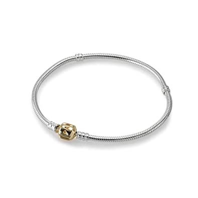 81dd0ad71 Amazon.com: PANDORA 590702HG-20 Two-Tone Barrel Clasp Bracelet, 7.9: Jewelry