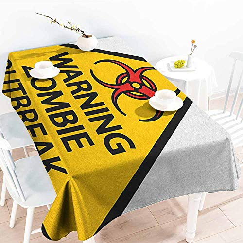 EwaskyOnline Fashions Rectangular Table Cloth,Zombie Warning The Zombie Outbreak Sign Cemetery Infection Halloween Graphic,Table Cover for Dining,W52x70L, Earth Yellow Red Black]()