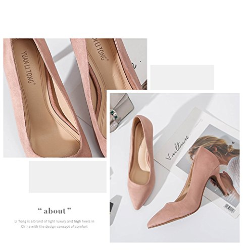 Pointed Pink Dress High Pumps Shoes coollight Shoes High Comfortable On Toe Heels Cap Elegant Slip Women's Formal Pump Wedding Heel 4Rqxd