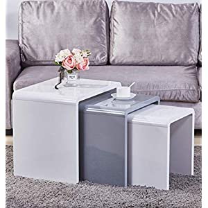 GOLDFAN Nest of 3 tables High Gloss Coffee Table Set