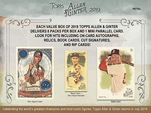 - 2019 Allen & Ginter Baseball Blaster Box (8 Packs/6 Cards: 1 Mini Parallel)