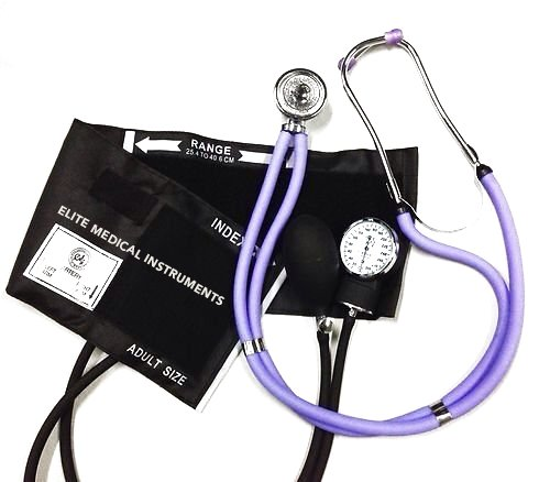 EMI Lilac Sprague Rappaport Stethoscope and Black Blood Pressure Kit - M#340